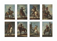 individual military figures on horseback, one on a mule, two being attended by other figures, before ruins (set of 8) by francesco simonini