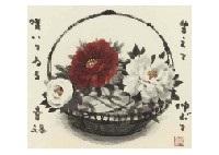 red and white peony by akira akizuki