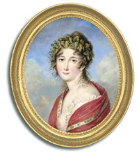 a young lady revealing her left breast, in frilled white dress, floral bordered red cashmere stole draped over her shoulders, vine leaf crown in her upswept hair falling in tendrils around her neck by louis marie autissier