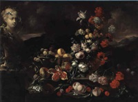 still life of fruit and flowers in a rocky landscape by aniello ascione