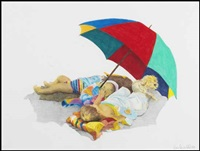 children under an umbrella by ross penhall