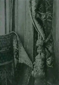 fenster mit teppich, vorhangteil und kordel by karl jobst
