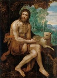 johannes der täufer mit dem lamm in einer bewaldeten landschaft by frans badens the younger