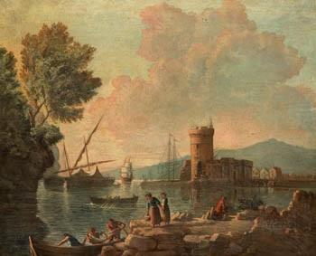 pescadores en la bahia by genaro perez villaamil