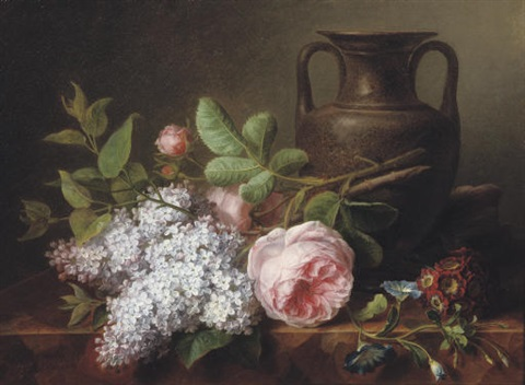 pink roses lilacs and an earthware vase on a ledge by cornelis van spaendonck