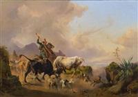 kämpfende stiere in campagnalandschaft by johann nepomuk rauch