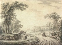 landscape with peasants on a country road, and others resting on a bridge over a stream by paul van liender
