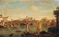 rome, a view of the ponte rotto with the basilica of saint peter's in the distance by giacomo van (monsù studio) lint