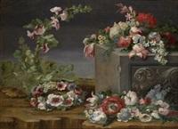 bodegón con flores y arquitectura by michele antonio rapous