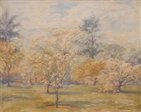 cherry blossom in kew gardens by augustus william enness