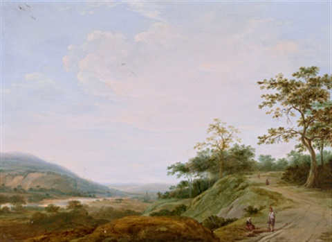 weite flusslandschaft mit rastenden by gillis peeters the younger