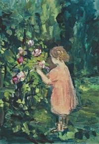 petite fille aux roses by pierre laprade