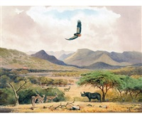 south african landscape with rhino, antelopes, etc by john cyril harrison