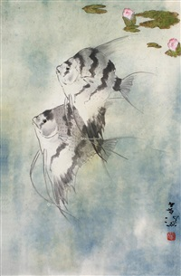 神仙鱼 镜片 设色纸本 by yang shanshen