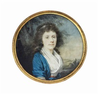 a young lady, in blue dress with white fichu, red shawl tied around waist, white bandeau in her curling hair; landscape background by josef kreutzinger