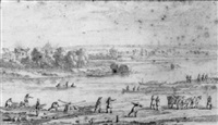 a river landscape with men loading wood and other figures by adam perelle