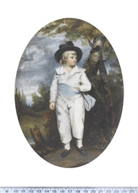 the artist's grandson, john charles spencer viscount althorp and 3rd earl spencer, standing in a landscape (after sir joshua reynolds) by margaret, lady bingham