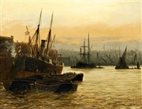 coal barges by a coastal steamer at a wharf (+ haybarge and steamer moored in an estuary, possibly the thames or medway; pair) by edward henry eugene fletcher