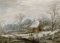 a winter landscape with figures by a cottage by pieter dircksz van santvoort