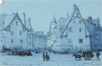 belebter marktplatz in einer kleinstadt by françois antoine bossuet