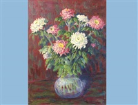 seven chrysanthemums in a vase by max (mabo) bosshard