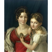 portrait of a mother with her daughter holding up a portrait miniature in her left hand by henri françois riesener
