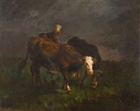 zwei kühe mit hirtin by constant troyon