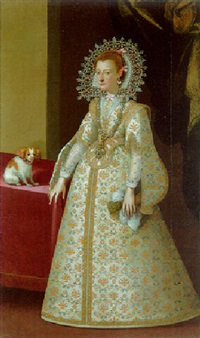 portrait of a lady, full length, in a white and gold dress and jewelled collar holding gloves, dog nearby by santo peranda