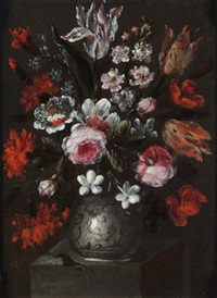 blumenstillleben (+ another; pair) by francesco volo