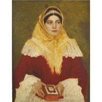 portrait of a jewish woman holding a prayer book by lazar krestin