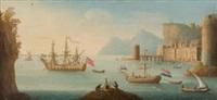 englisches und niederländisches schiff vor italienischer küste mit hafenstadt. by jacob van lint