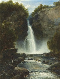 an angler before a waterfall by john brandon smith