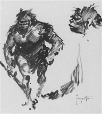 striding neanderthal and sketch of head by frank frazetta