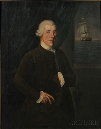 portrait of a ship captain, with distant ship flying an american flag by american school (18)