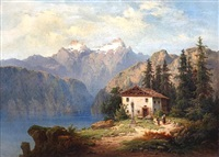alpine lake landscape with figures before a cottage on a bank by henri baumgartner
