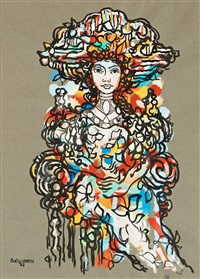 portrait of a women (figuras sedentes series) by rené portocarrero
