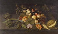 still life with apples, pears, grapes, and other fruits in a chinese porcelain bowl on a ledge alongside a melon, some artichokes, and some flowers by johannes bosschaert