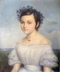 jeune fille couronnée de bleuets by bathilde goblain