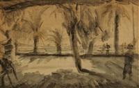 palmiers en bord de mer (cannes ?) by leopold-levy