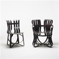 hat trick chair and cross check chair (pair) by frank gehry
