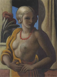 blonde au collier rouge by jean metzinger
