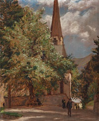 die alte nikolauskirche in bad gastein by adolf helmberger