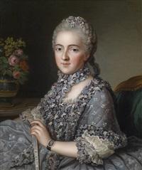bildnis einer reichgekleideten dame, auf dem brillantbesetzten armband eine miniatur ihres gemahls by guillaume voiriot