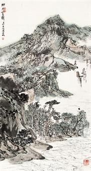 湖光山色图 立轴 设色纸本 by ya ming