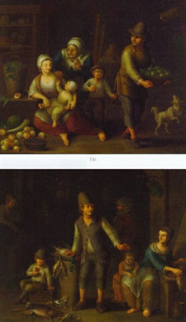 peasant families in interiors with fruit and dead game by german school frankfurt 18