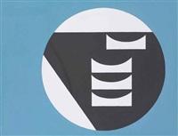 composition dans un cercle blanc sur fond bleu by sophie taeuber-arp
