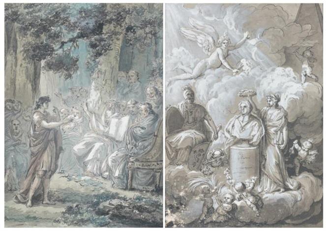 le couronnement dune statue jeune orateur devant les philosophes pair by jean guillaume moitte