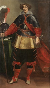 portrait of a gentlemen in armor, standing, holding a staff, his helmet and a letter on a draped table beside him by carlo francesco nuvolone