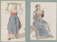 landschaften, italienerinnen (4 works) by thomas ender