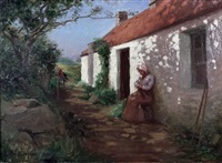 girl sitting outside a cottage with a parrot on a stand by george davidson